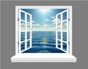 Ocean and Blue Skies 3D Window view, wall art sticker